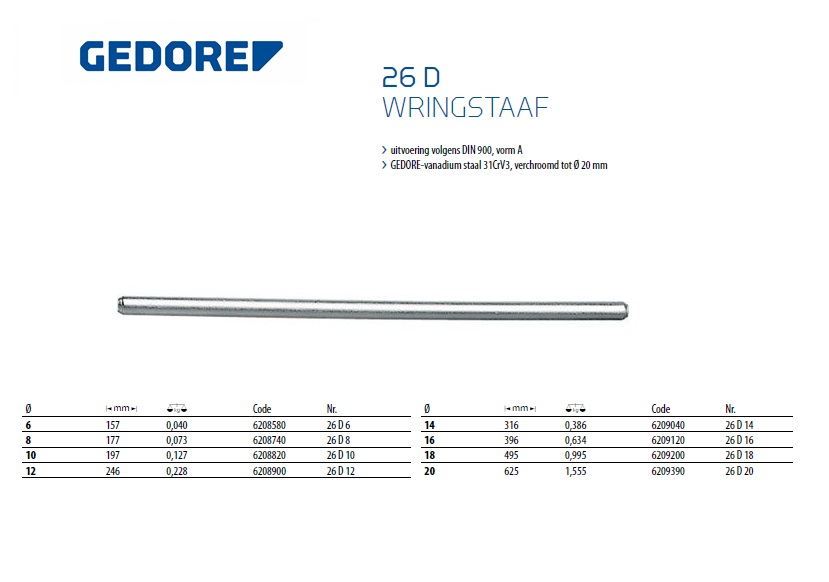 Wringstaaf 160x 6mm Gedore