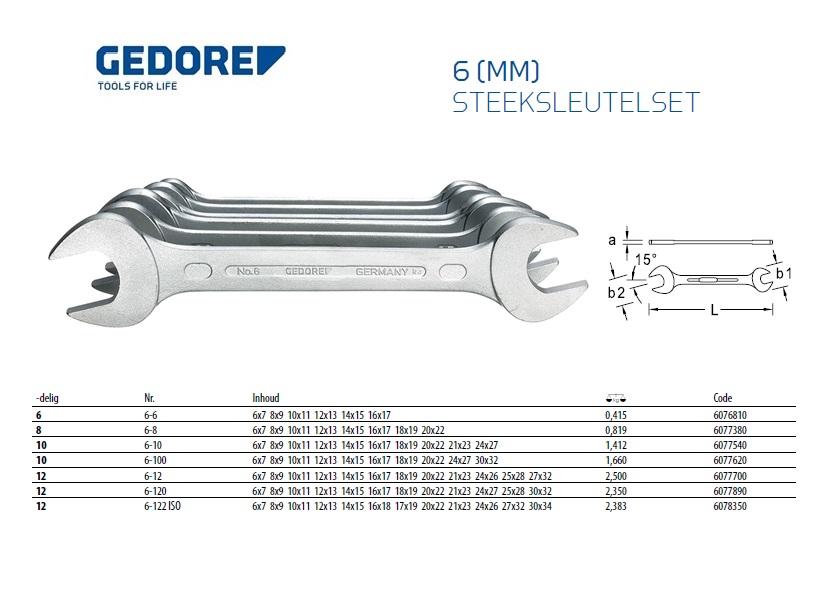 Steeksleutel-set 6-22mm 8-delig Gedore 6077380
