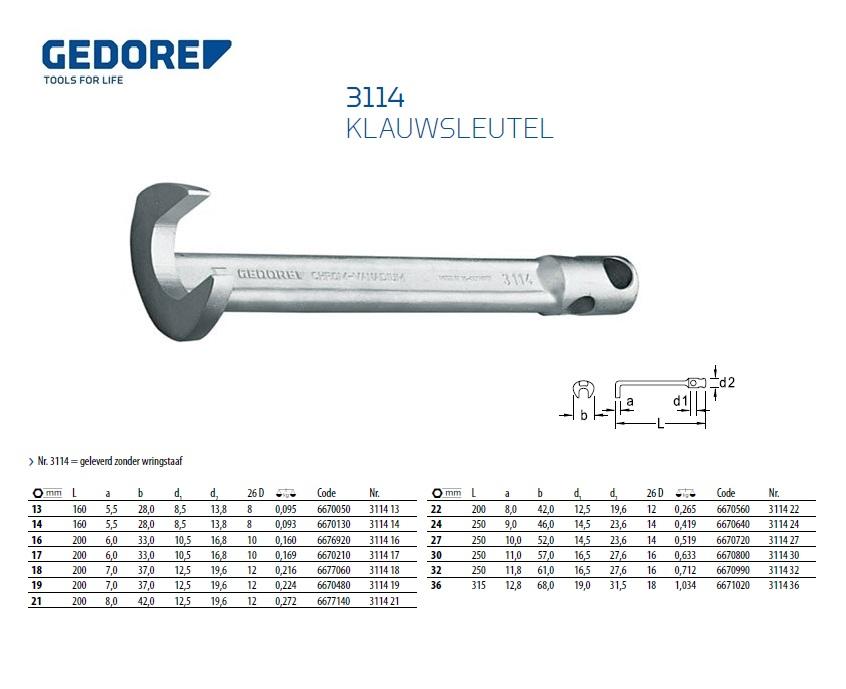 Klauwsleutel 13mm Gedore 6670050