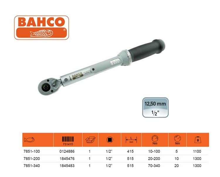 BAHCO Klikmomentsleutel 10-100Nm 1/2 met venster 7851-100