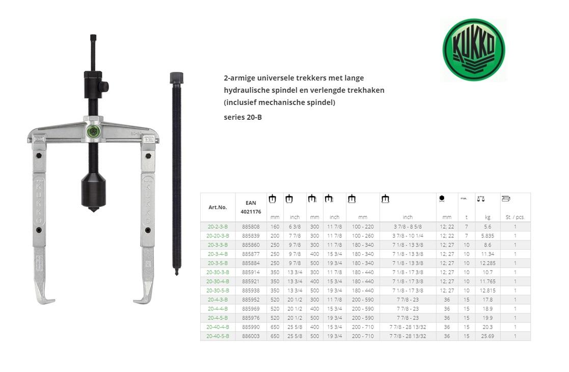 KUKKO Universele poelietrekker tweearmig met lange hydraulische spindel 160x300mm