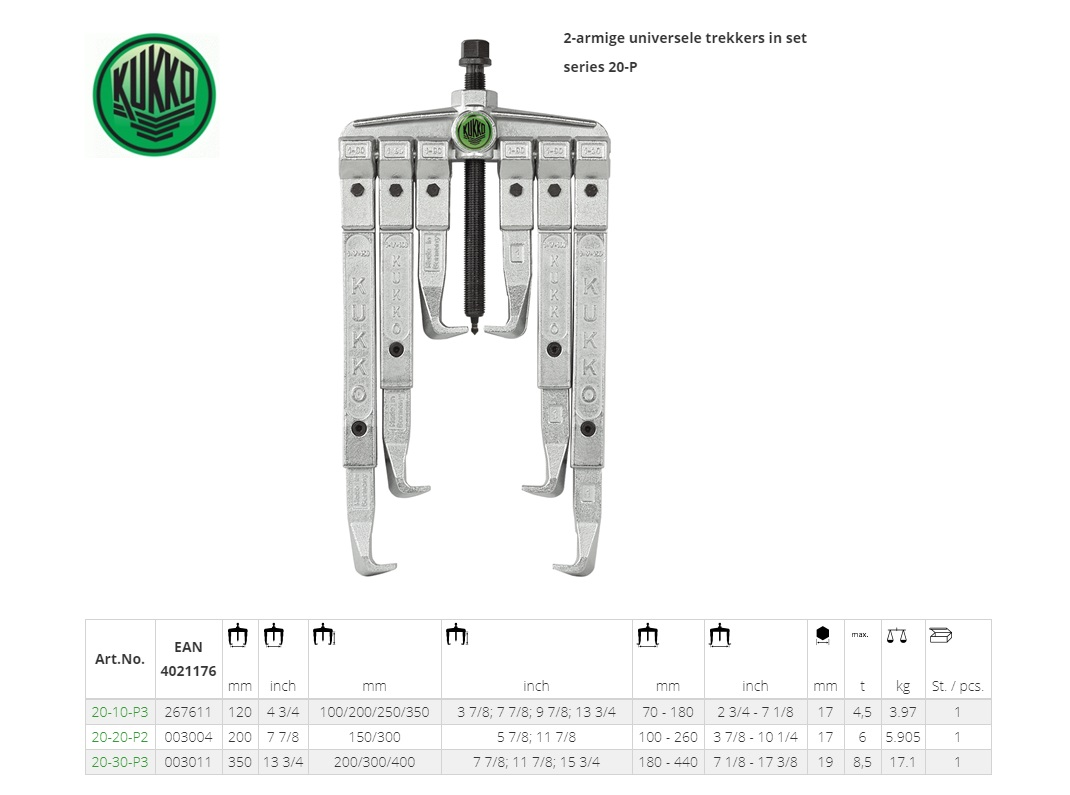 KUKKO Universele poelietrekker tweearmig in set 120x100/200/250/350mm Kukko 20-10-P3