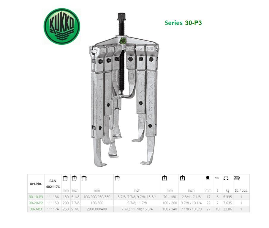 Universeel 3-armige trekker-set 130x100/200/250/350mm Kukko 30-10-P3