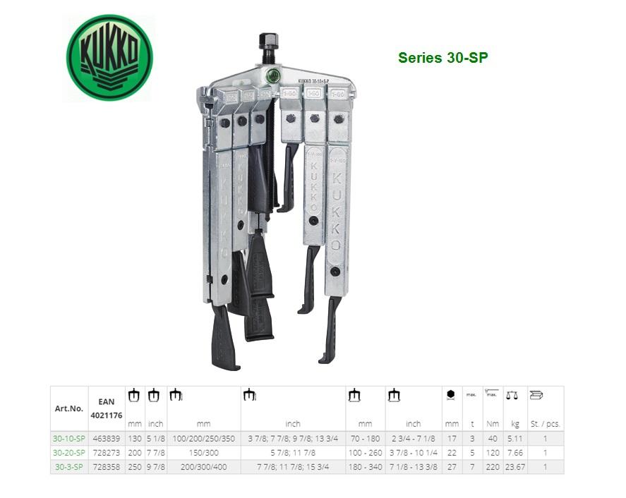 KUKKO Universele poelietrekker 3-armige met dunne trekhaken in set 130x100/200/250/350mm