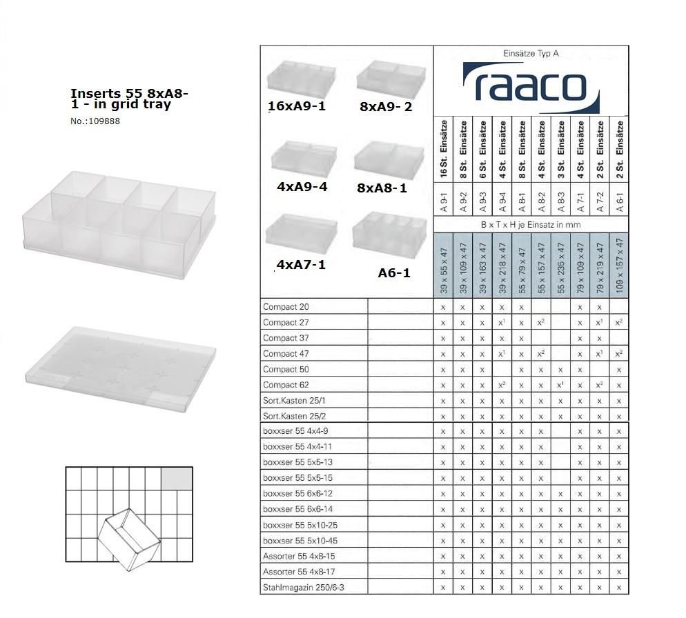 Raaco Inzetbakje 55 8xA8-1 op tray 55x79x47mm