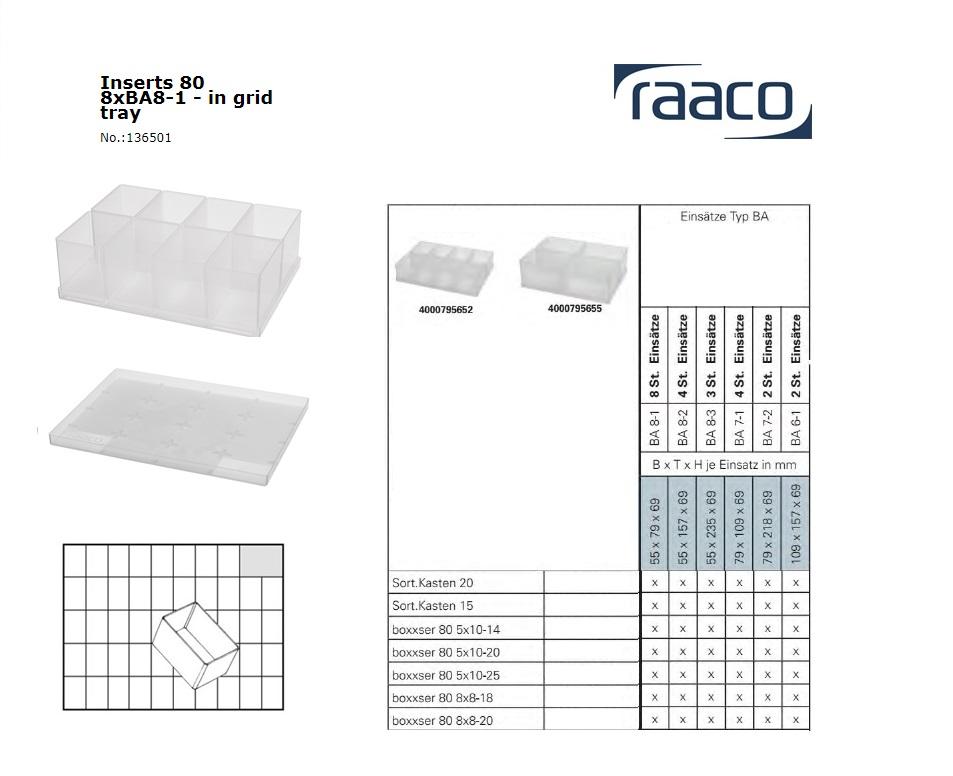 Raaco Inzetbakje 80 8xBA8-1op tray 55x79x69mm