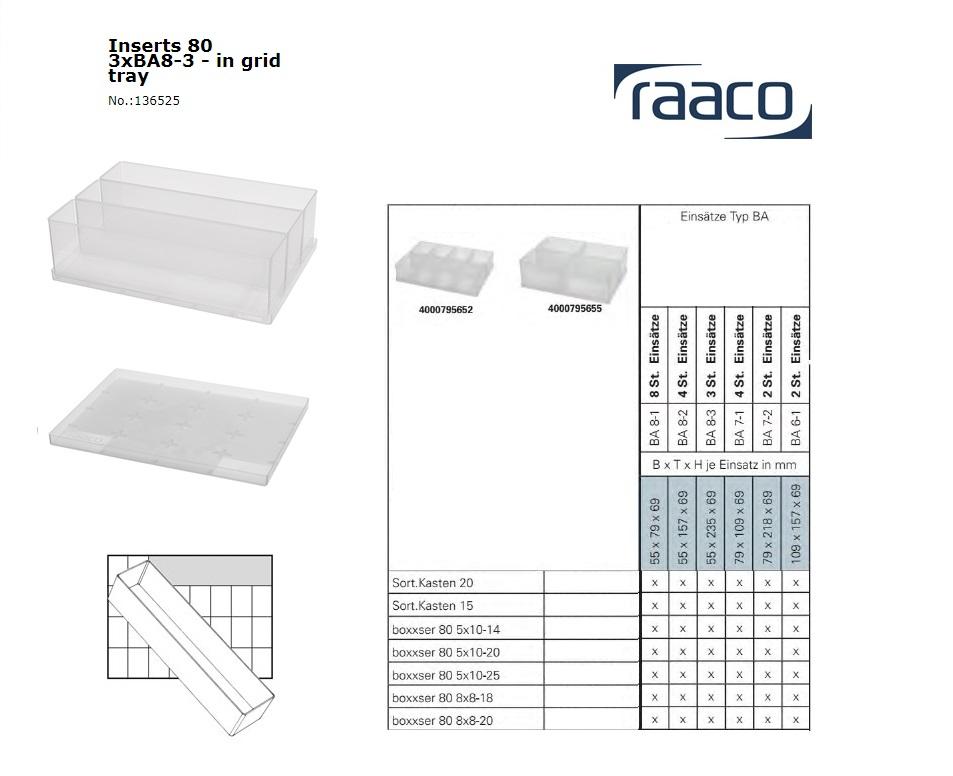 Raaco Inzetbakje 80 3xBA8-3 op tray 55x235x69mm