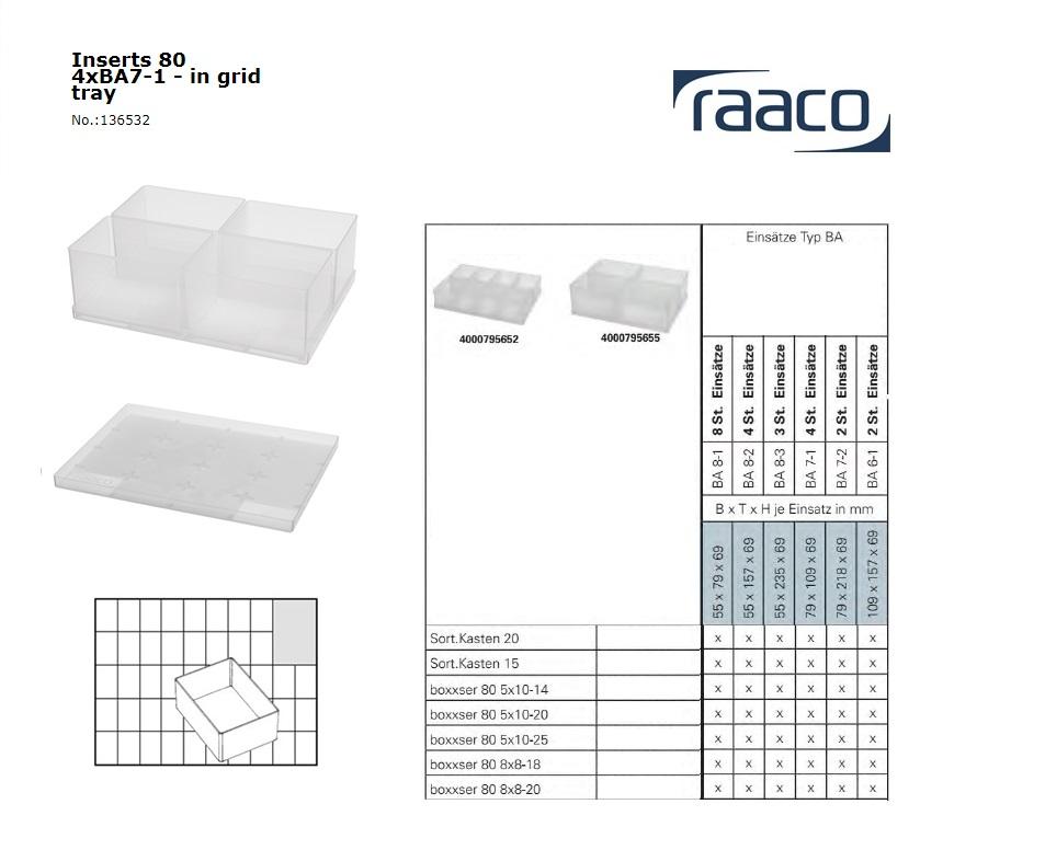 Raaco Inzetbakje 80 3xBA7-1 op tray 79x109x69mm