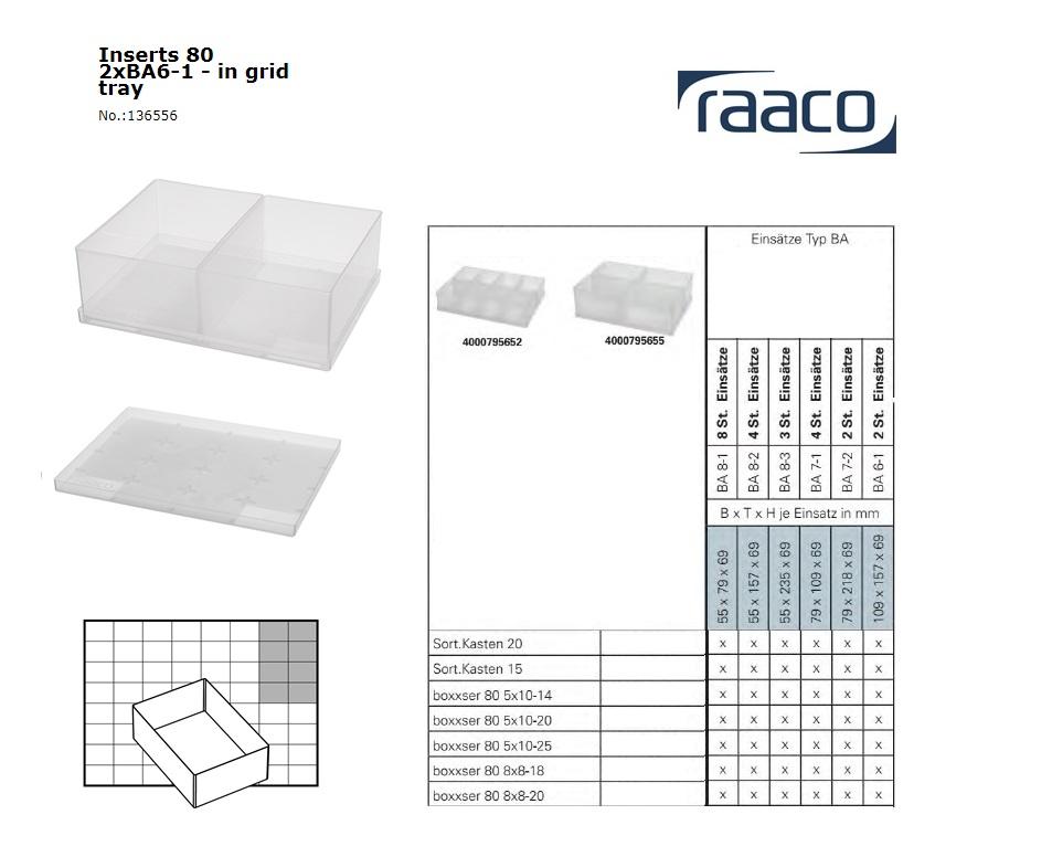 Raaco Inzetbakje 80 2xBA6-1 op tray 109x157x69mm