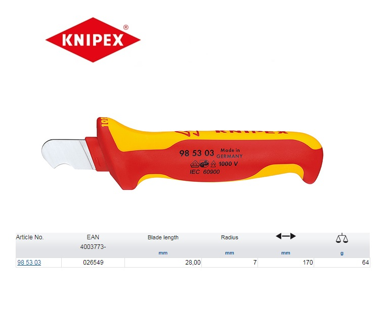 Knipex Ontmantelingsmes VDE 160mm 98 53 03