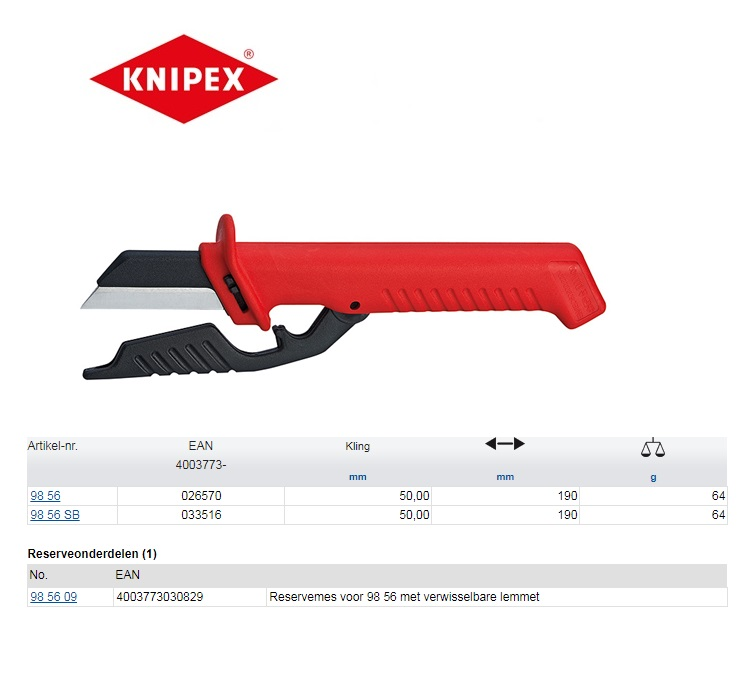 Knipex Kabelmes VDE 190mm 98 56