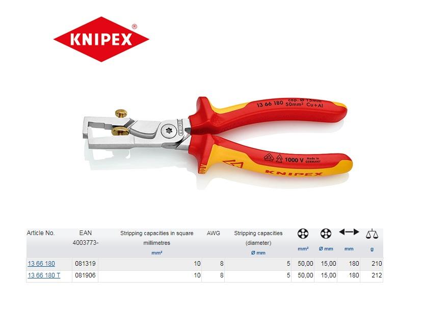 Knipex StriX VDE Afstriptang met kabelschaar 180mm 13 66 180