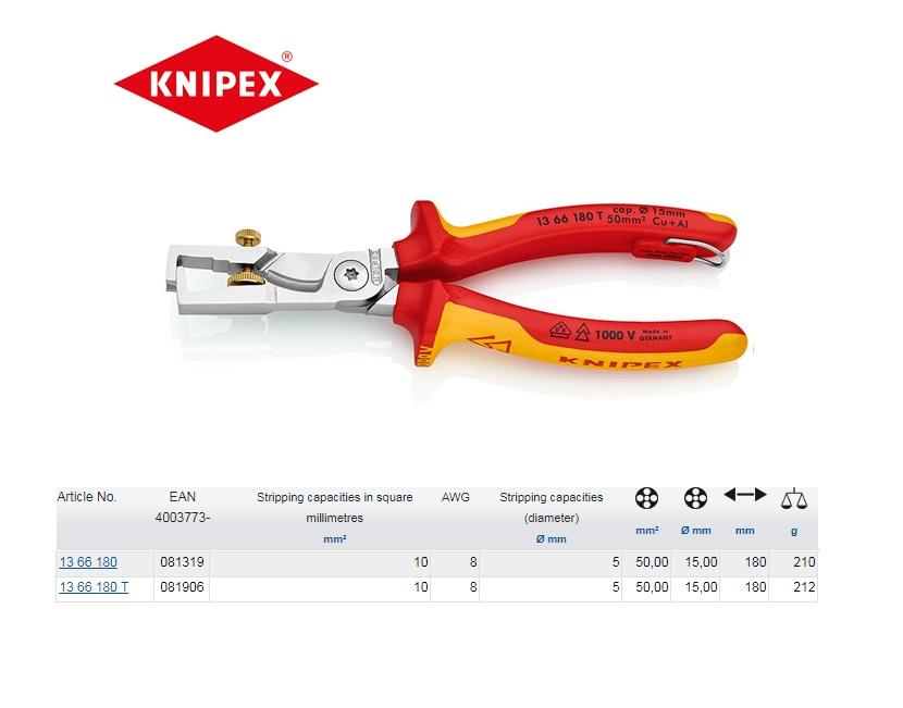 Knipex StriX VDE Afstriptang met kabelschaar 180mm 13 66 180 T