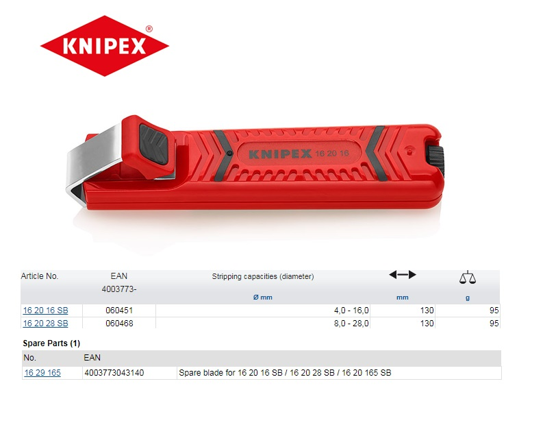 Knipex Kabelmes 4-16mm