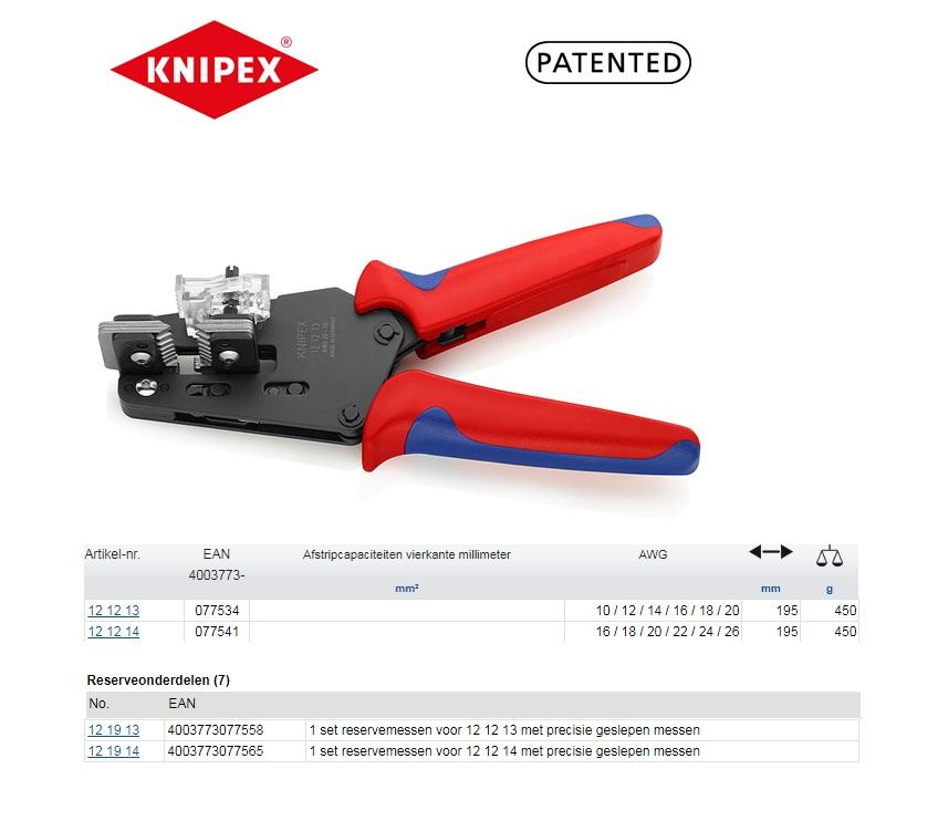 Knipex Precisie afstriptangen AWG 10 / 12 / 14 / 16 / 18 / 20