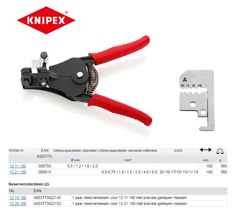 Knipex afstriptang 0,5 / 1,2 / 1,6 / 2,0 Ø mm