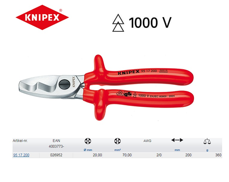 KNIPEX Kabelschaar 200 mm 95 17 200
