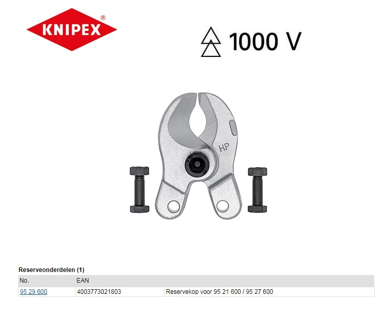 Knipex 95 29 600 Reserve snijkop voor 95 21 600/95 27 600