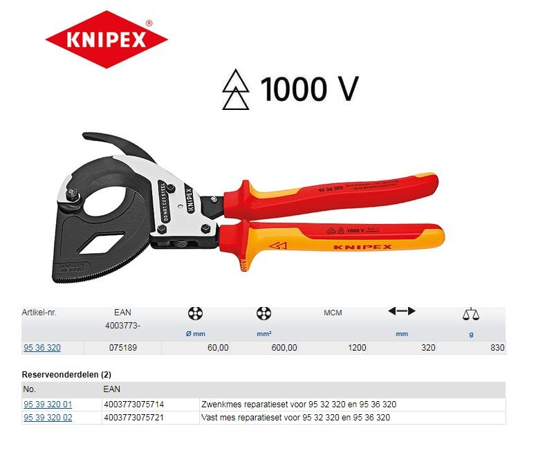 Knipex VDE kabelschaar met ratel 320 mm 95 36 320