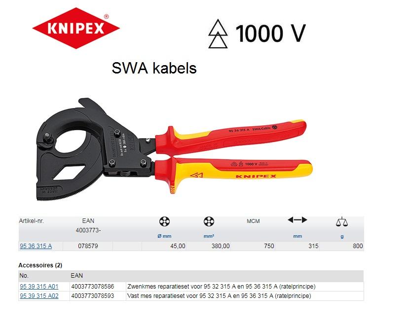 Knipex kabelschaar (SWA kabel) 315mm 95 36 315 A