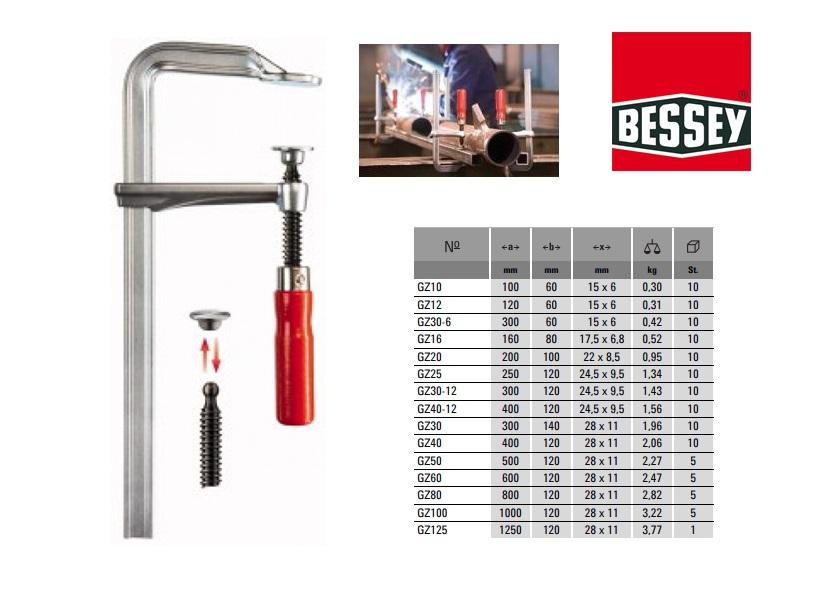 Bessey Lijmtang geheel staal 100 x 50mm GZ10