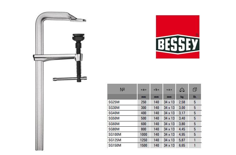 Bessey Geheel stalen bankwerkersklem 250x140mm met T-greep