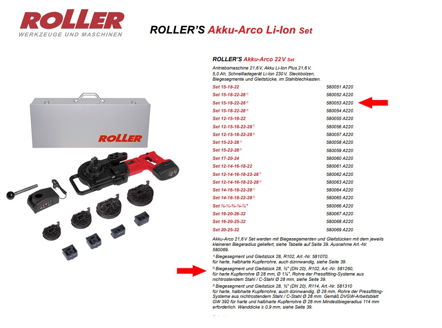 ROLLER`S Akku-Arco 22V Set 15-18-22-28 (2)