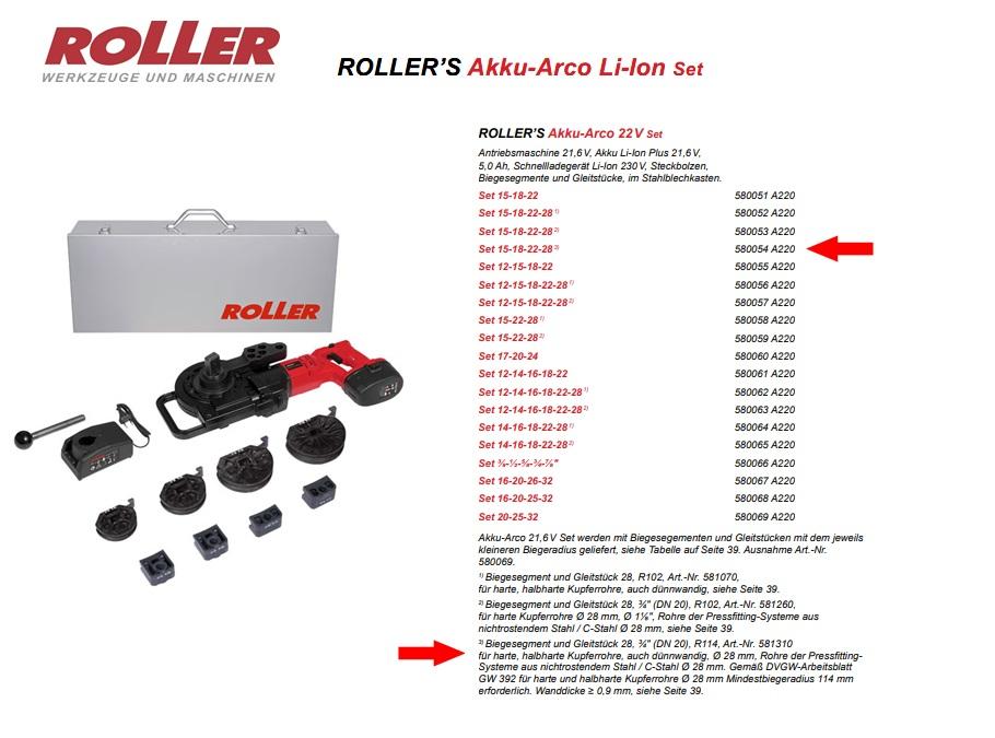 ROLLER`S Akku-Arco 22V Set 15-18-22-28 (3)
