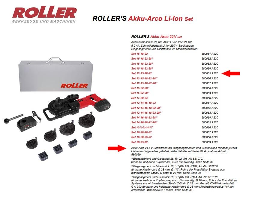 ROLLER`S Akku-Arco 22V Set 12-15-18-22