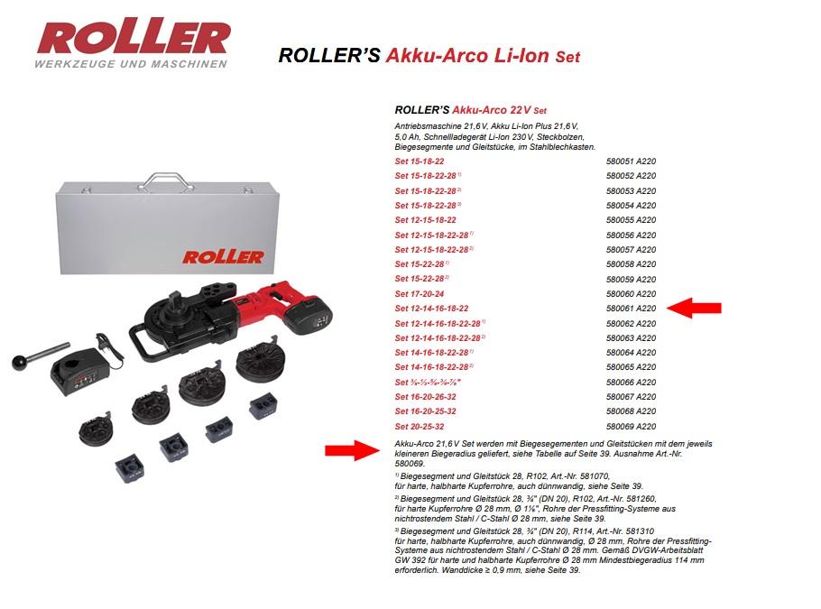 ROLLER`S Akku-Arco 22V Set 12-14-16-18-22