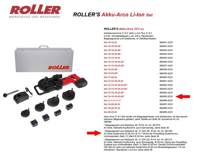 ROLLER`S Akk-Arco 22V Set 14-16-18-22-28 (2)