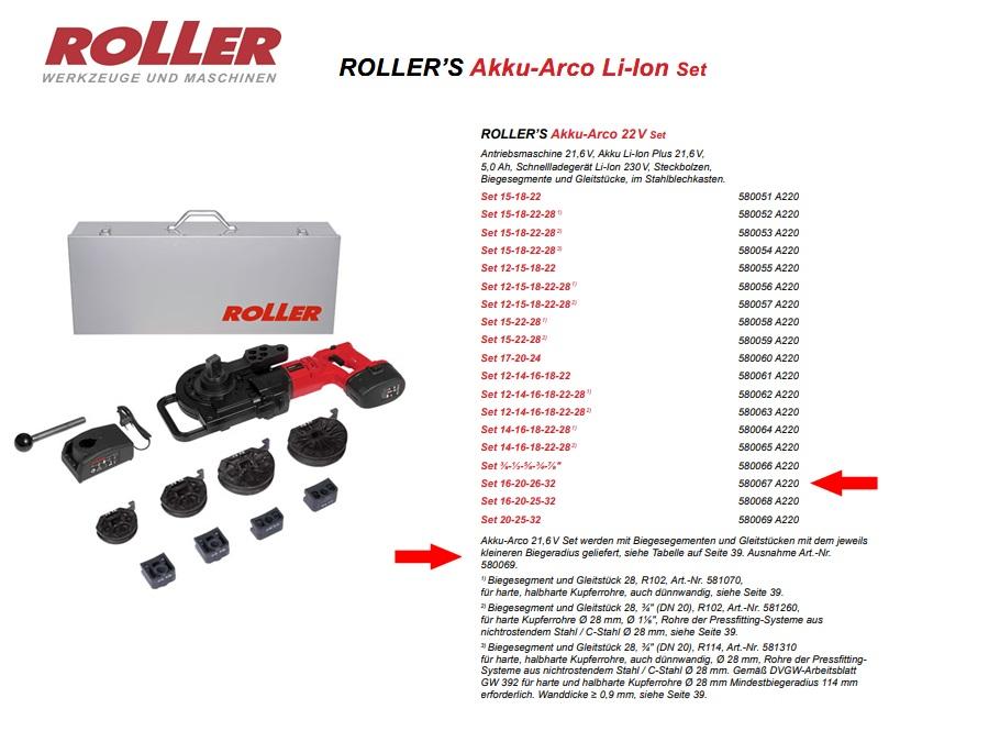 ROLLER`S Akku-Arco 22V Set 16-20-26-32