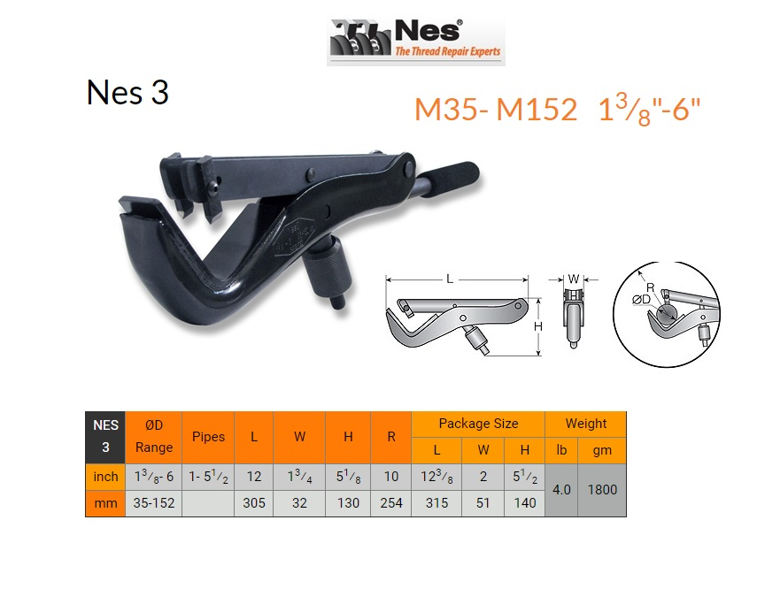 Buiten schroefdraad herstelgereedschap 35-152mm NES 3