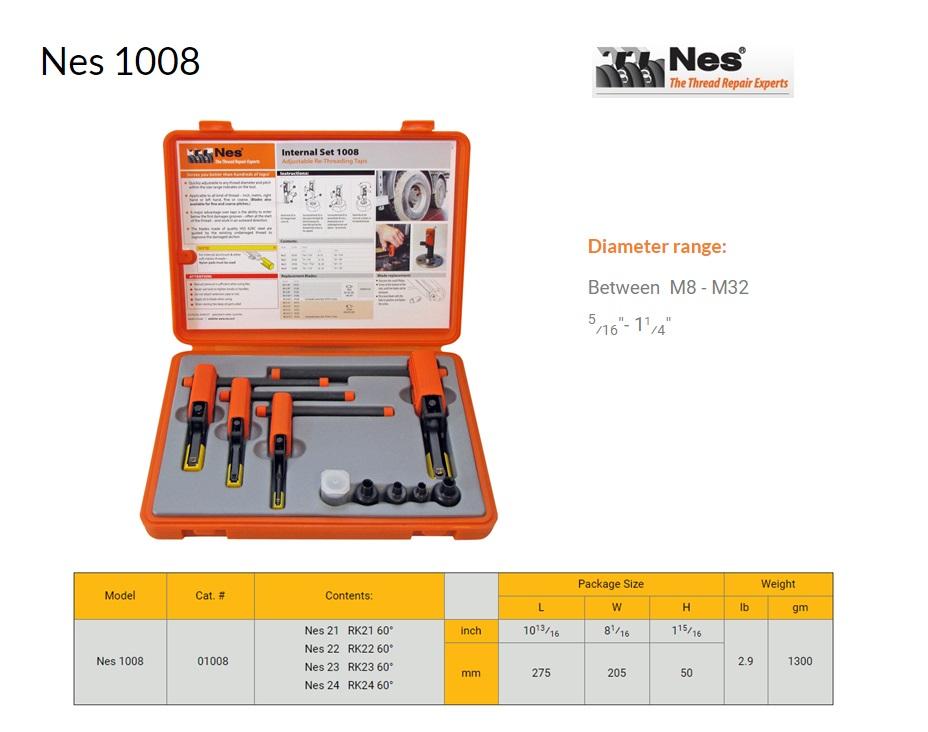 Reparatieset Binnen schroefdraad herstelgereedschap 8-32mm NES 1008