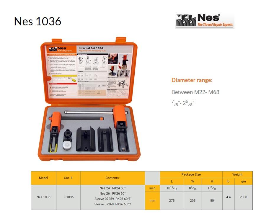 Reparatieset Binnen schroefdraad herstelgereedschap 22-68mm NES 1036