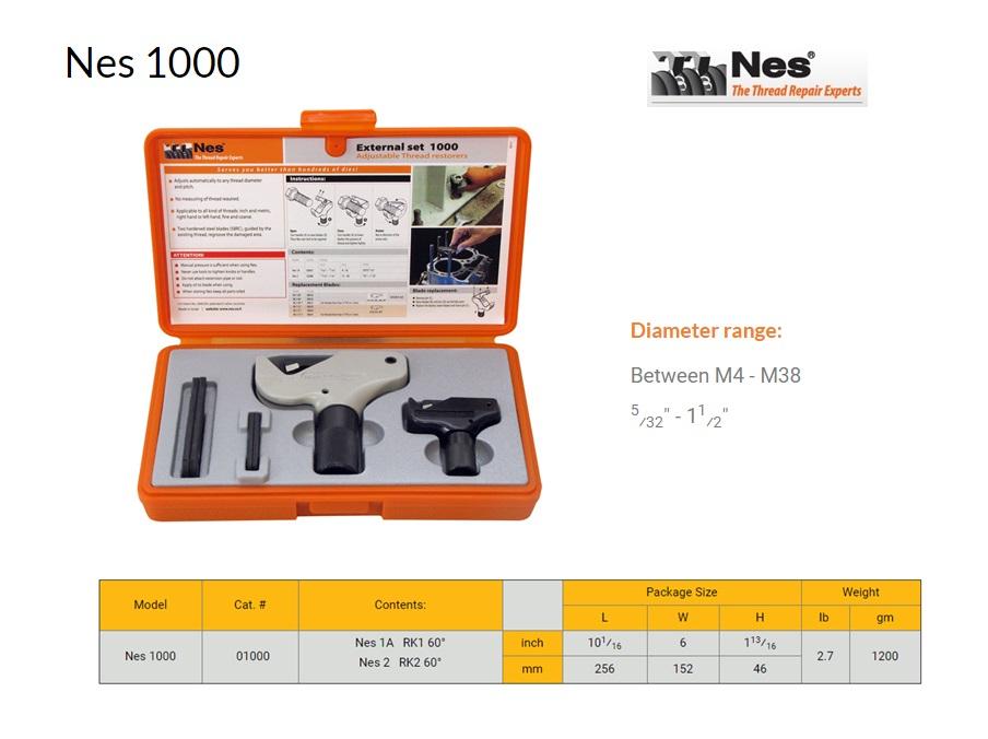 Reparatieset buiten schroefdraad herstelgereedschap 4-38mm NES 1000
