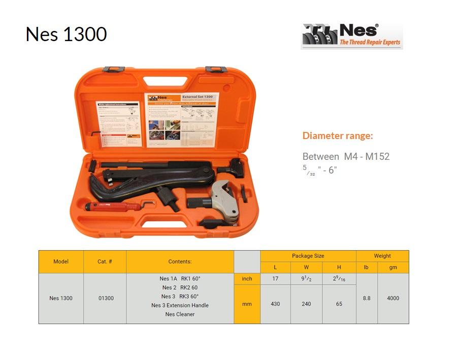 Reparatieset buiten schroefdraad herstelgereedschap 4-152mm NES 1300