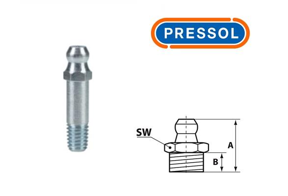 Kegelsmeernippel H1-recht M 6 x 1-VZ-SK-SW 7-lang-29 mm