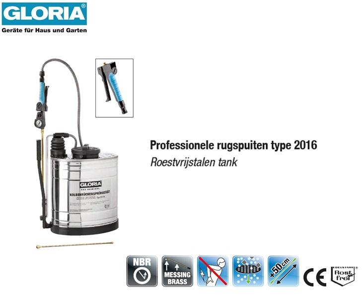Rugspuit Gloria Roestvrijstaal 2016 - 16 liter