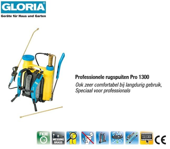Rugspuit Gloria Kunststof Pro 1300 - 13 liter