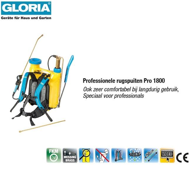 Rugspuit Gloria Kunststof Pro 1800 - 18 liter