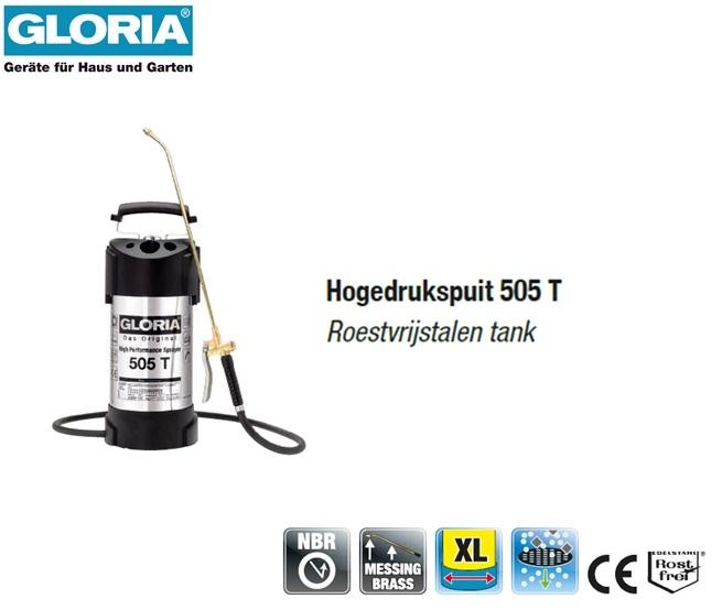 Hogedrukspuit RVS 6 bar Gloria 505T - 5 liter