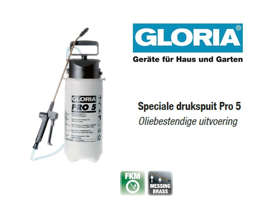 Oliebestendige drukspuit Gloria Pro 5 - 5 liter