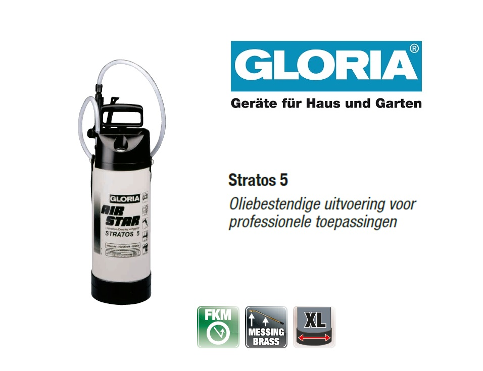 Oliebestendige drukspuit Gloria Stratos 5 - 5 liter