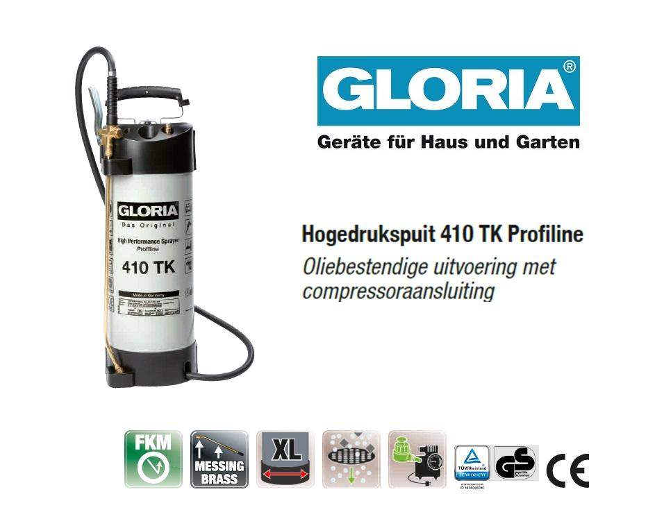 Hogedrukspuit Staal Gloria 410TK Profiline - 10 liter