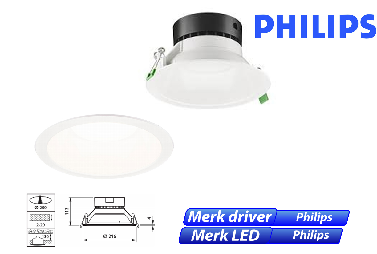 Philips DN130B LED 12W 1000lm 830 wit
