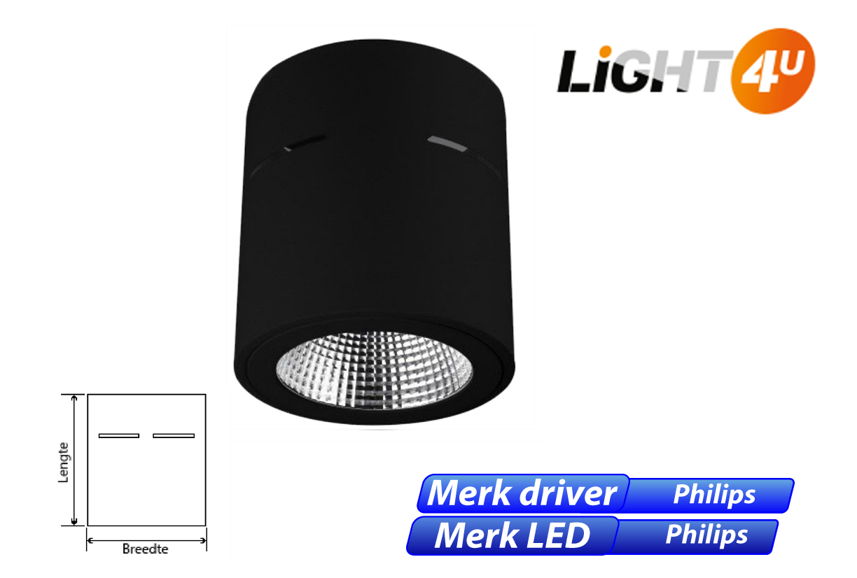 Grid LED 8W 1100lm 830 zwart