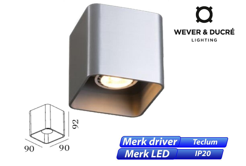Docus 1.0 LED 8W 480lm 830 aluminium geschuurd
