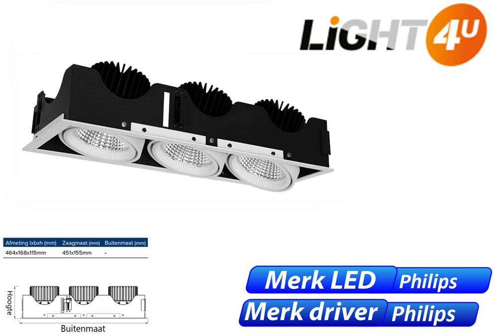 Cardan three LED 8W 1100lm 830 wit