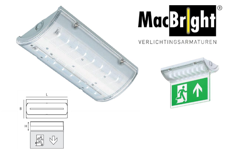 Kent LED N/N 4W 350lm 840 IK08 grijs - incl. kap & pictogram